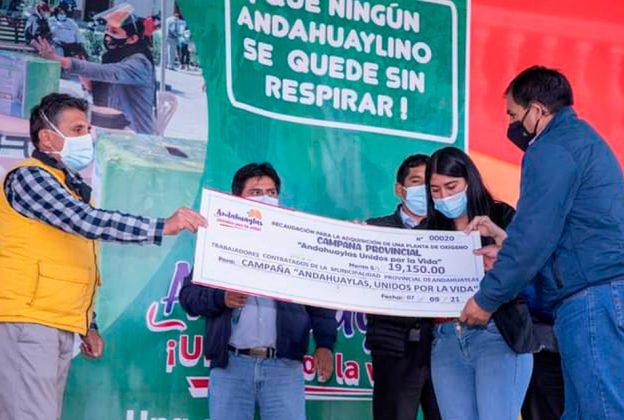 ANDAHUAYLAS CULMINA CON ÉXITO CAMPAÑA UNIDOS POR LA VIDA PARA COMPRA DE PLANTA DE OXÍGENO