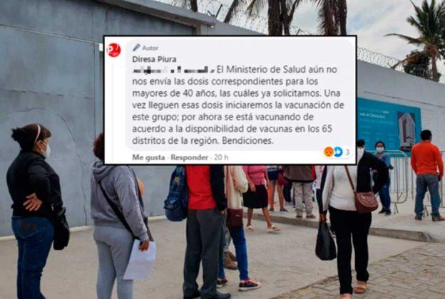 """DIRESA PIURA: """"EL MINSA AÚN NO NOS ENVÍA LAS DOSIS CORRESPONDIENTES PARA MAYORES DE 40"""""""